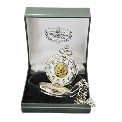 Mullingar Pewter Pocket Watch With Trinity Knot Design And Celtic Border