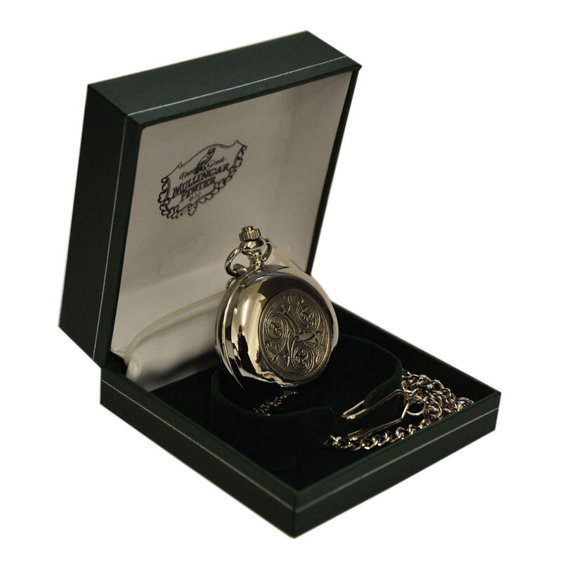 Mullingar Pewter Stainless Steel Pocket Watch With Celtic Logo