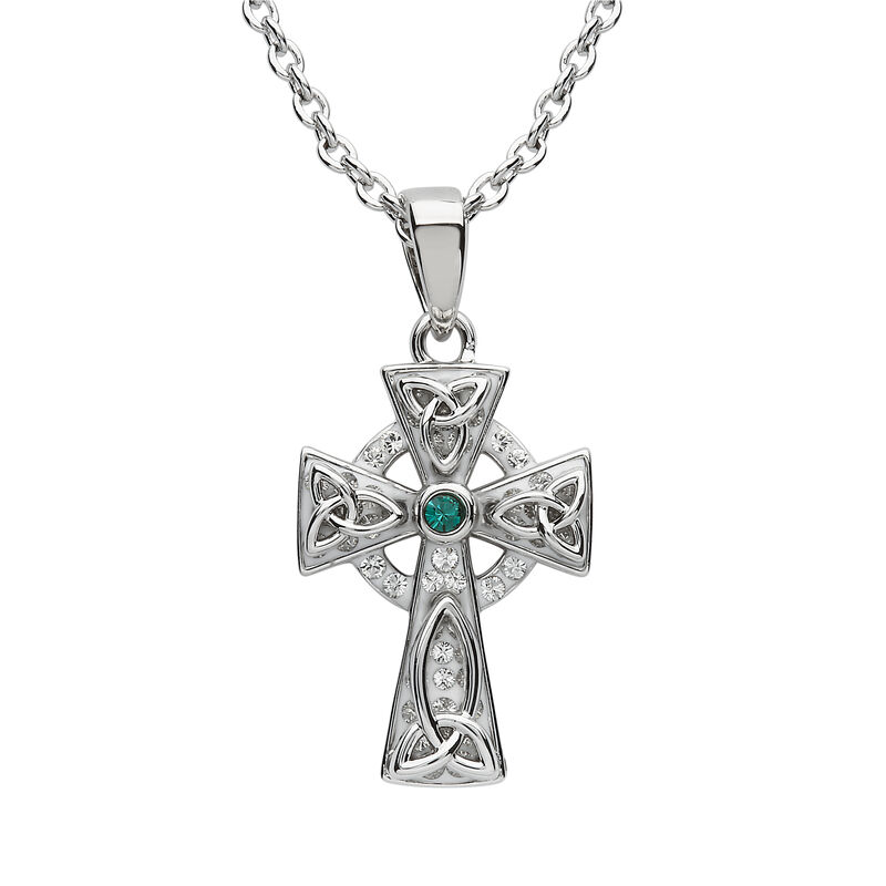 Platinum Plated Celtic Cross Pendant With Green Swarovski Crystals Centre Stone