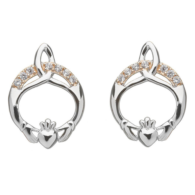 Hallmarked Sterling Silver Rose Gold Cubic Zirconia Claddagh Earrings