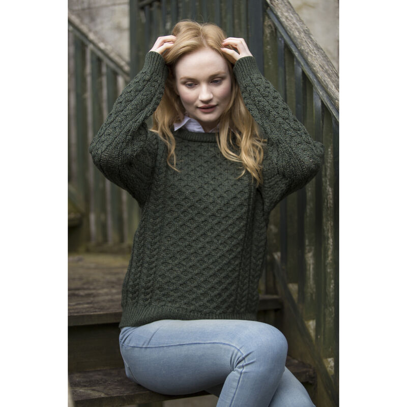 100% Merino Wool Crew Neck Sweater, Green Colour
