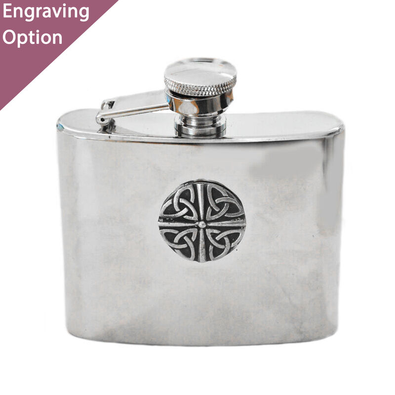 Mullingar Pewter Stainless Steel Hip Flask  Trinity Knot Design