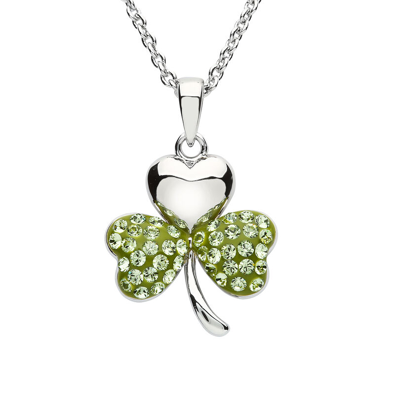 Platinum Plated Shamrock Pendant With Peridot Swarovski Crystals On Two Leafs