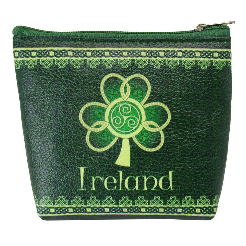Shamrock Spiral Ireland Clip Purse With A Green And Yellow Celtic Design