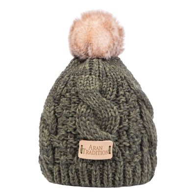 Kids Knit Style Aran Cable Knit Tammy Bobble Hat  Dark Green Colour