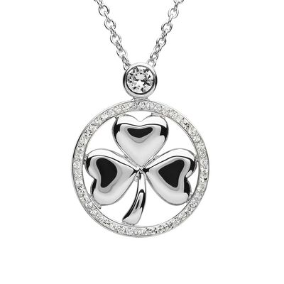 Platinum Plated Shamrock Pendant With Clear Swarovski Crystal