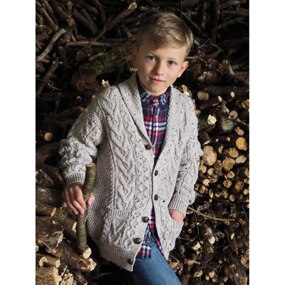 100% Merino Wool Cardigan, Oatmeal Colour