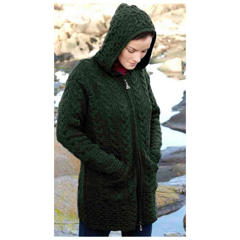 100% Merino Wool Hooded Coat With Double Full Zipper, Green Colour