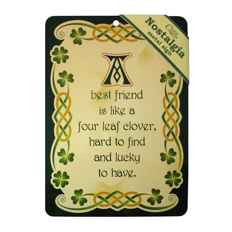 Nostalgia A5 Metal Sign With Best Friend Text And Celtic Design