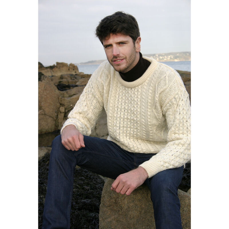 100% Merino Wool Crew Neck Sweater, Natural Colour