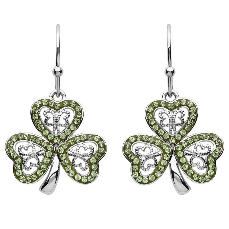 Platinum Plated Filigree Shamrock Drop Earrings With Peridot Swarovski Crystals