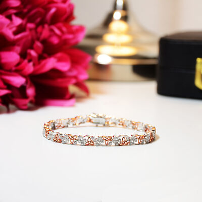 Hallmarked Sterling Silver and Rose Gold Shamrock and Trinity Knot Bracelet