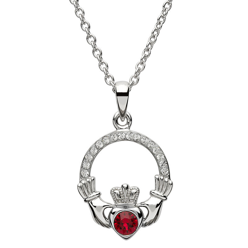 Platinum Plated Claddagh July Birthstone Pendant With Swarovski Crystals
