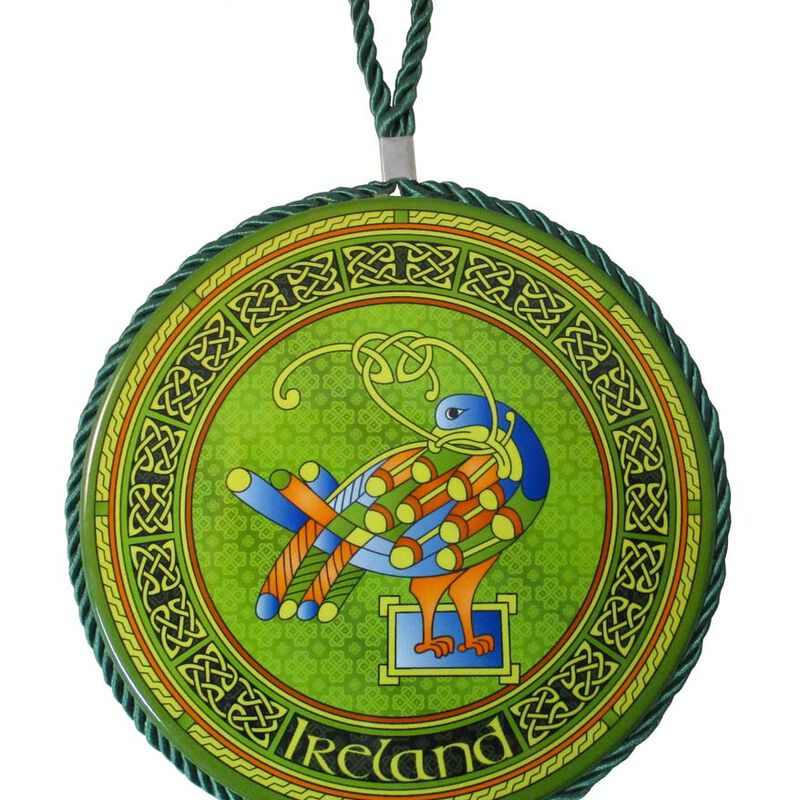 Irish Weave Ceramic Pot Stand/Hanging Decoration With Celtic Peacock Design