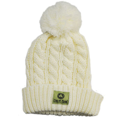 Man Of Aran Knit Style Bobble Hat With Irish Cable Stitch  Natural Colour