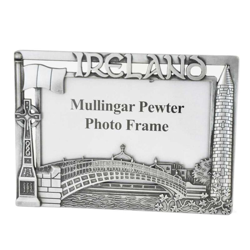 Mullingar Pewter Photo Frame With Ireland Design 15 x 10 CM