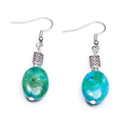 Green Oval Shaped Chrysocolla Stone Earrings