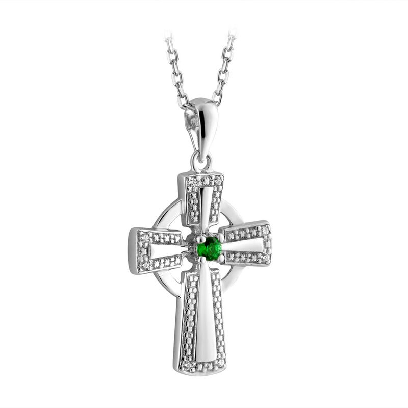 Sterling Silver Irish Celtic Cross Necklace With Green Gem Detail