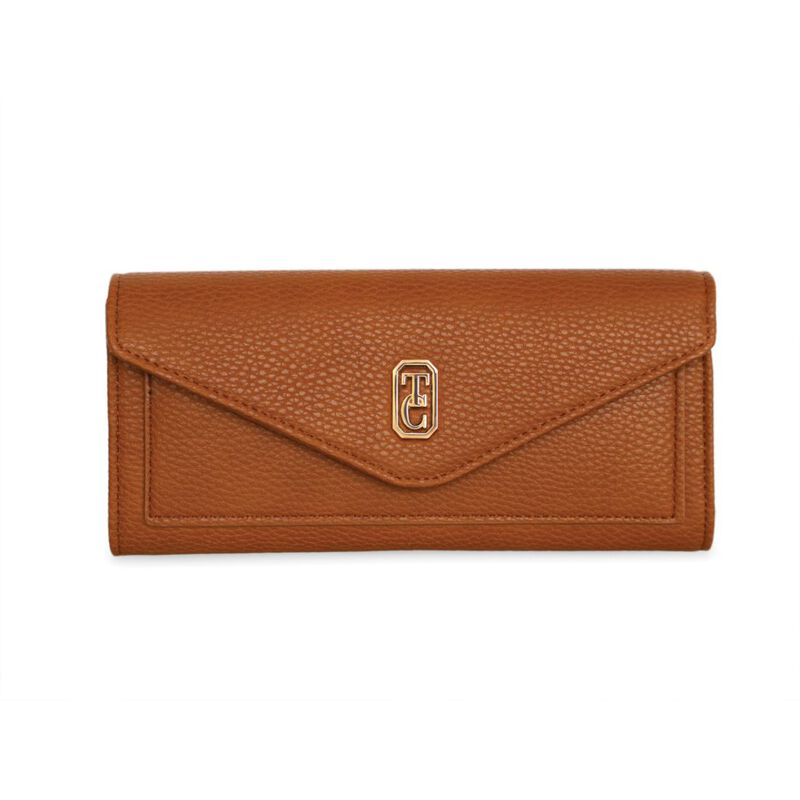 Tipperary Crystal Tan Envelope Style Ladies Wallet With Gold Hardware