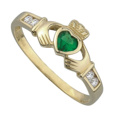 9 Carat Gold Claddagh Ring With Emerald Cubic Zirconia Stone