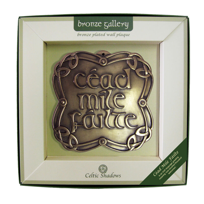 Bronze Plated Wall Plaque With Cead Mile Failte Design