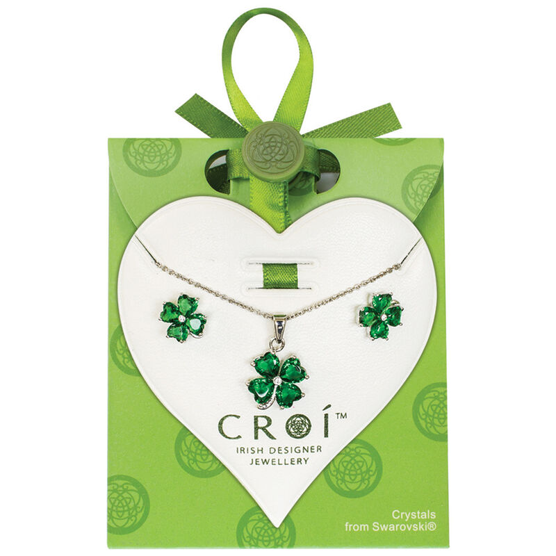 Irish Designed Croi Clover Necklace and Earrings Set With Swarovski Crystal Stones