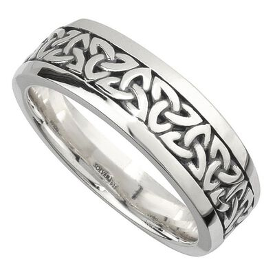 Hallmarked Sterling Silver Oxidised Gents Mens Trinity Knot Ring