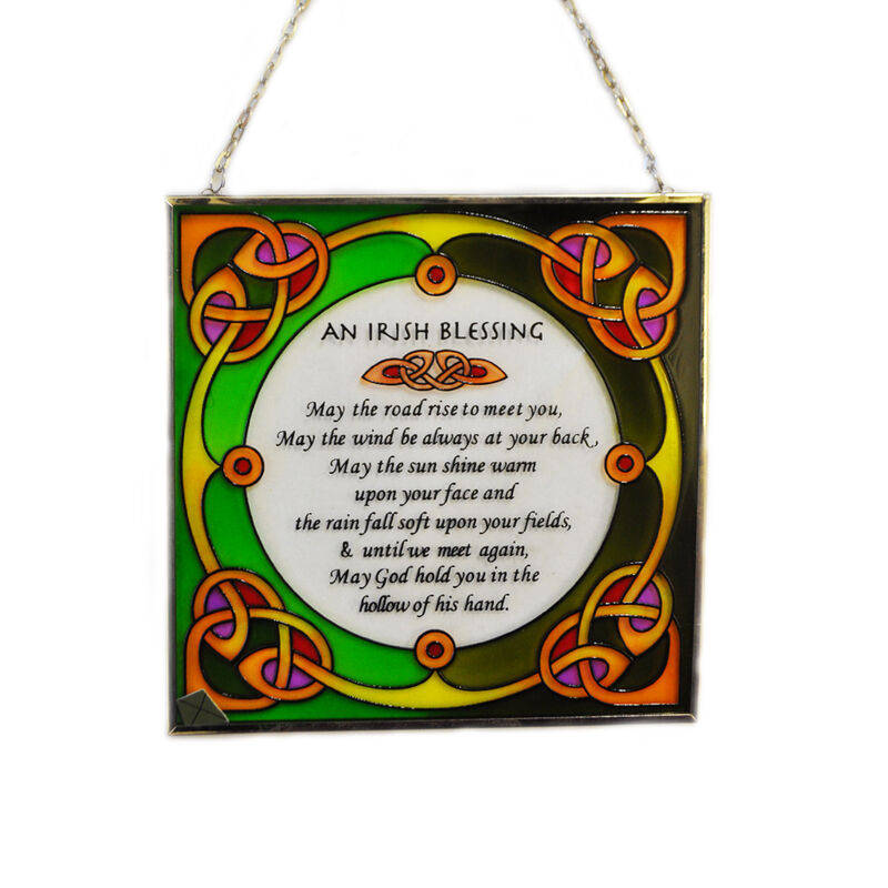 6.5 Stained Glass Hanging Panel With Irish Blessing