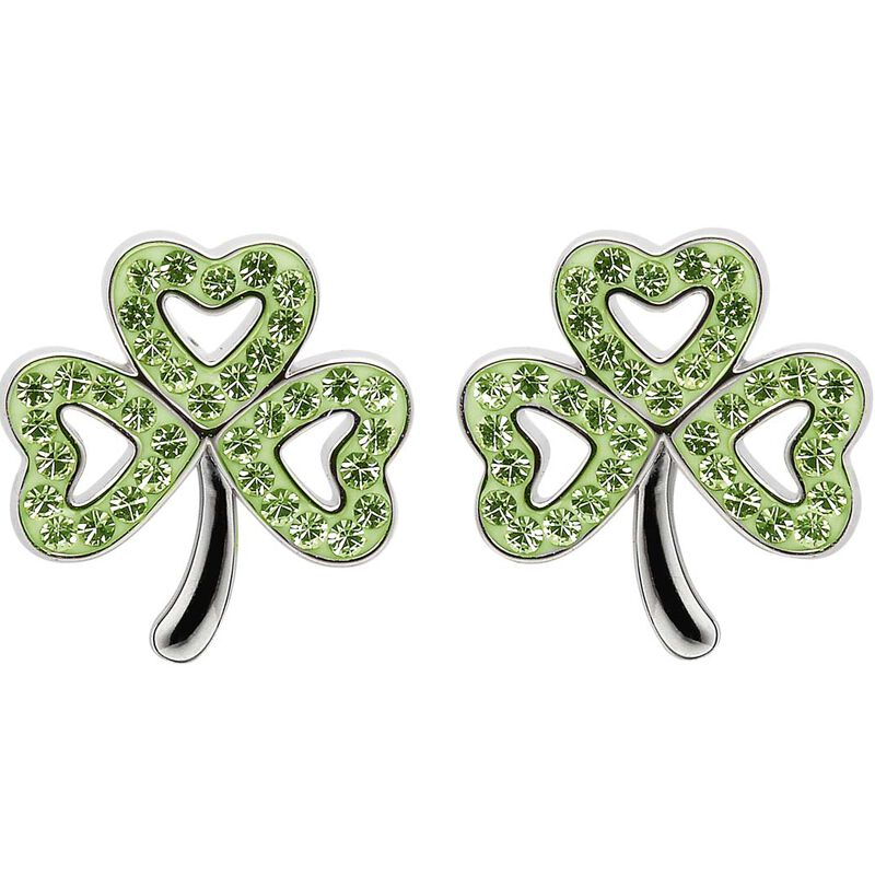 Platinum Plated Shamrock Stud Earrings With Peridot Swarovski Crystals