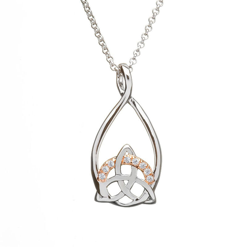 Hallmarked Sterling Silver and Rose Gold Pendant With Trinity Knot Design