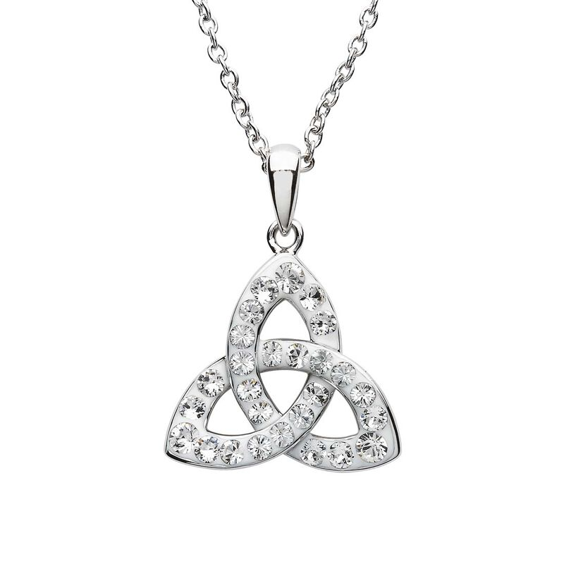 Platinum Plated Trinity Knot Pendant With Clear Swarovski Crystals  Domed