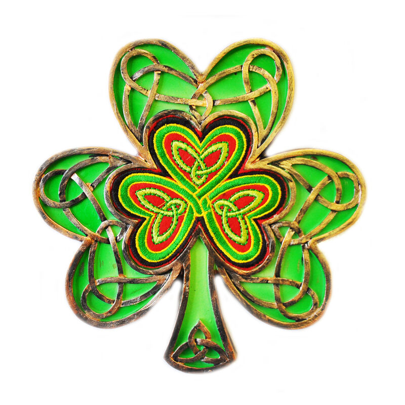 Celtic Threads Hand Painted Wall Plaque Shamrock