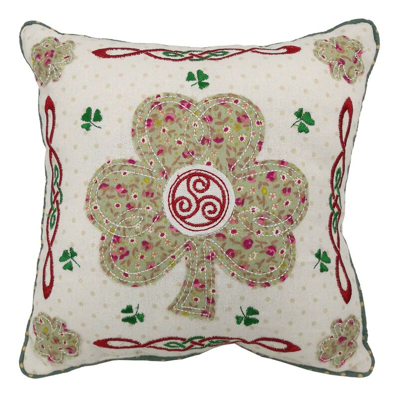 "10"" Square Patchwork Appliqué Cushion Shamrock Design"