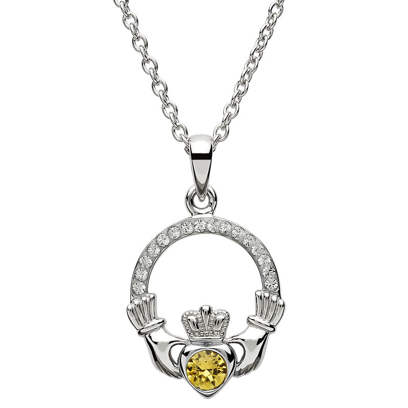 Platinum Plated Claddagh November Birthstone Pendant With Swarovski Crystals