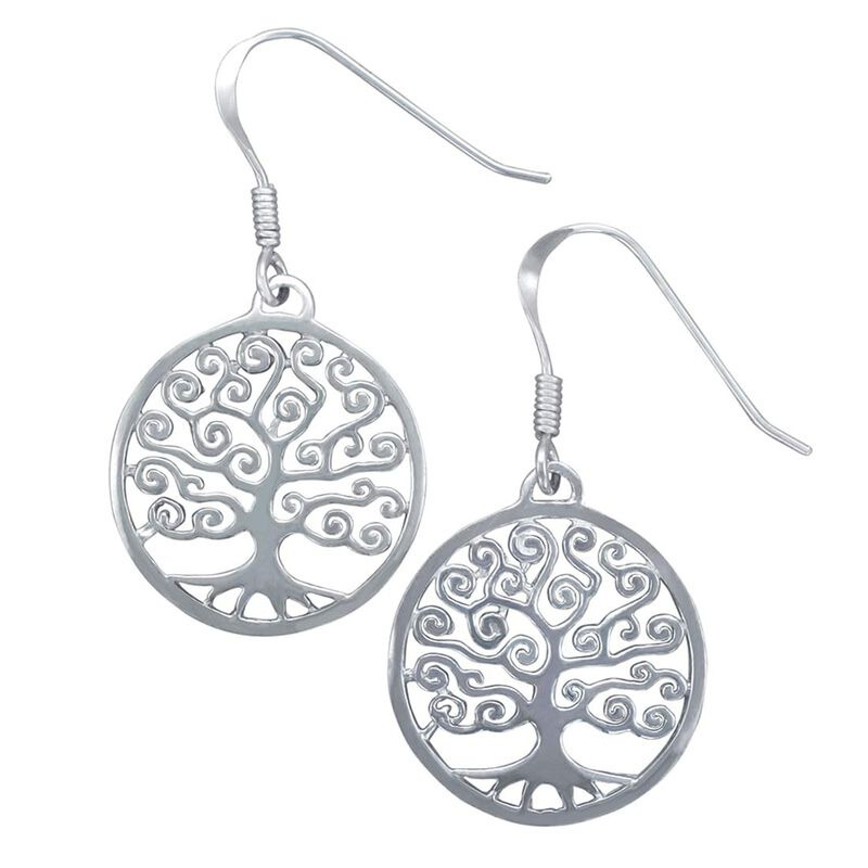 Hallmarked Sterling Silver Tree Of Life Designed Earrings