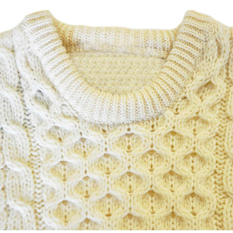 100% Natural Wool Crew Neck Traditional Aran Sweater  White Colour