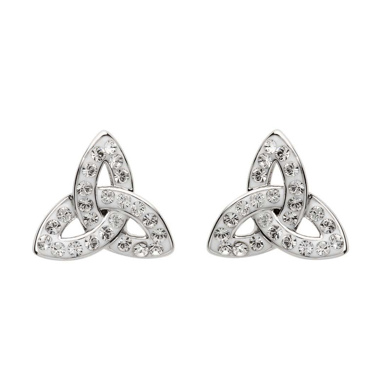 Platinum Plated Trinity Knot Stud Earrings With Clear Swarovski Crystals  Domed