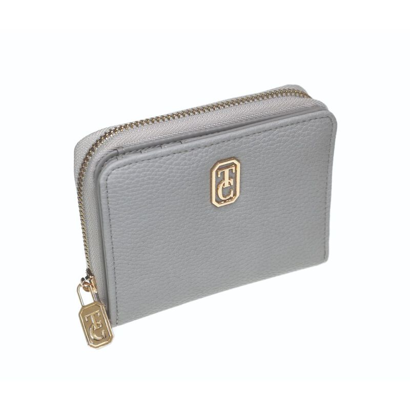 Tipperary Crystal Small Grey Ladies Zipped Wallet With Gold Hardware