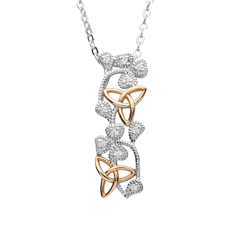 Hallmarked Sterling Silver and Rose Plated Shamrock and Trinity Design Pendant