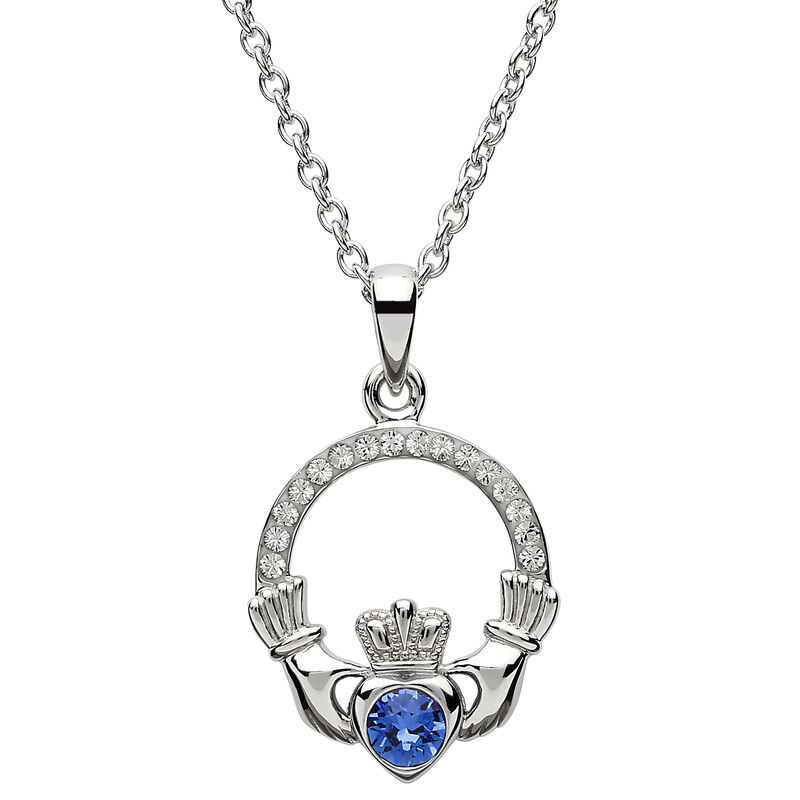 Platinum Plated Claddagh September Birthstone Pendant With Swarovski Crystals