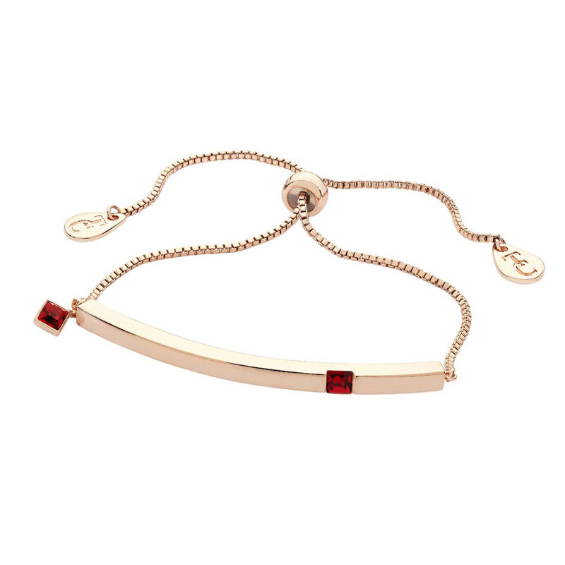 Tipperary Crystal January Rose Gold Bar Garnet Crystal Birthstone Bracelet