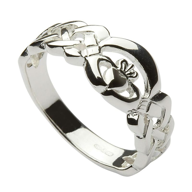 Hallmarked Sterling Silver Woven Band Ring With Claddagh Design