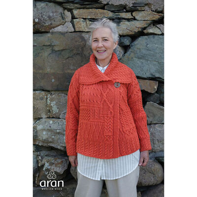 Aran Knitted Patchwork 1 Button Cardigan With Collar, Autumn Orange Colour