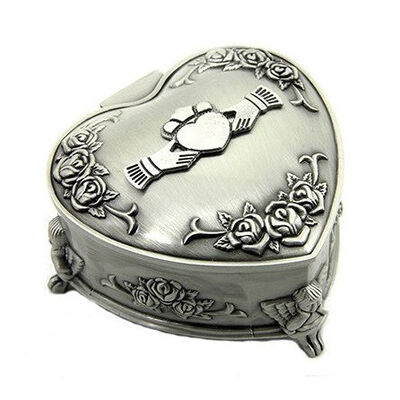 Mullingar Pewter Heart Shaped Jewelry Box With Claddagh And Cherub Design