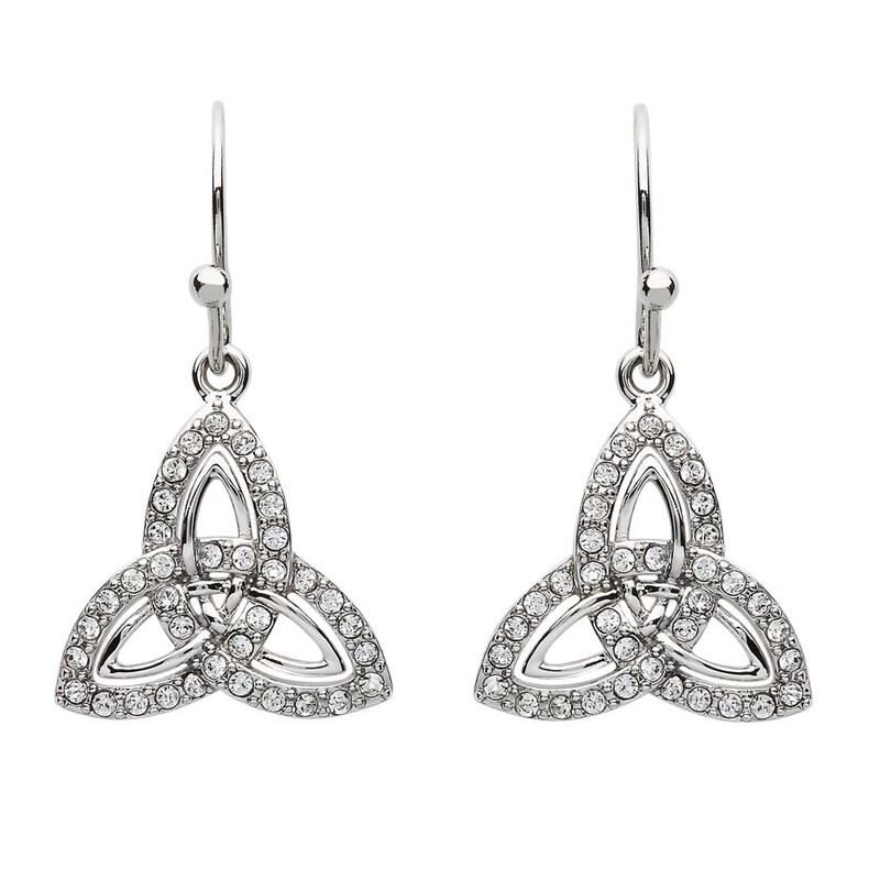 Platinum Plated Trinity Knot Drop Earrings 2 Row With Clear Swarovski Crystals
