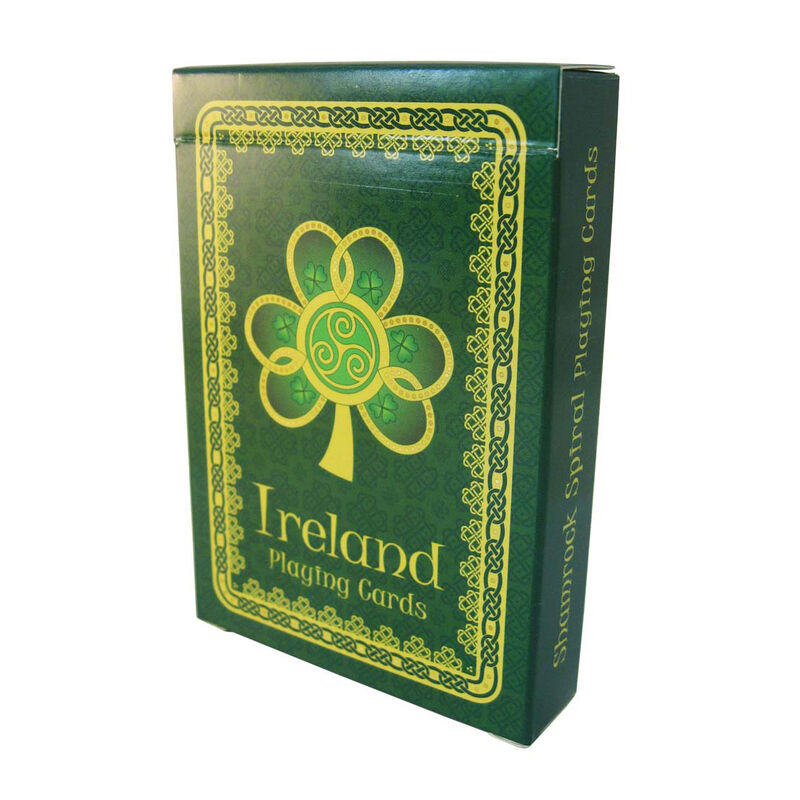 Shamrock Spiral Ireland Playing Cards With A Green Celtic Design