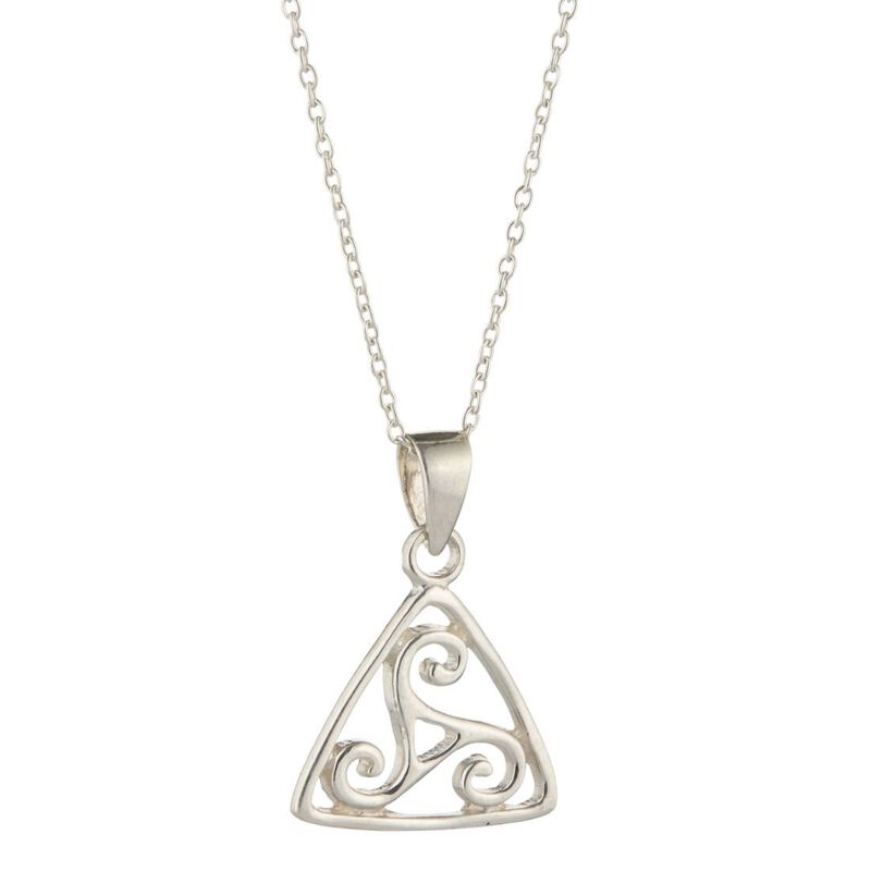 Hallmarked Sterling Silver Trinity Knot In Triangle Designed Pendant