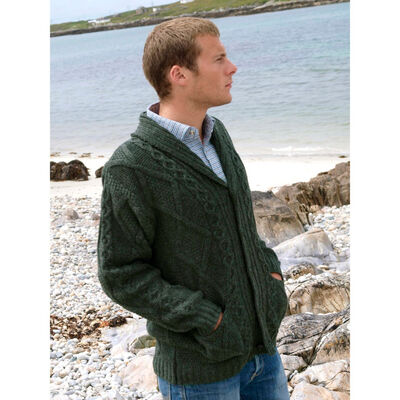 100% Merino Wool Aran Shawl Collar Grandfather Cardigan, Green Colour
