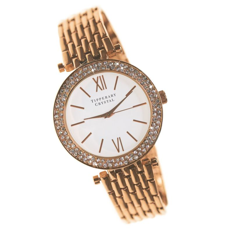 Tipperary Crystal Tempo Round Face Rose Gold Ladies Watch With Stones