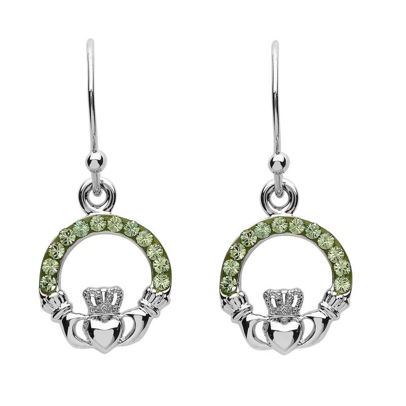 Platinum Plated Claddagh Drop Earrings With Peridot Swarovski Crystals